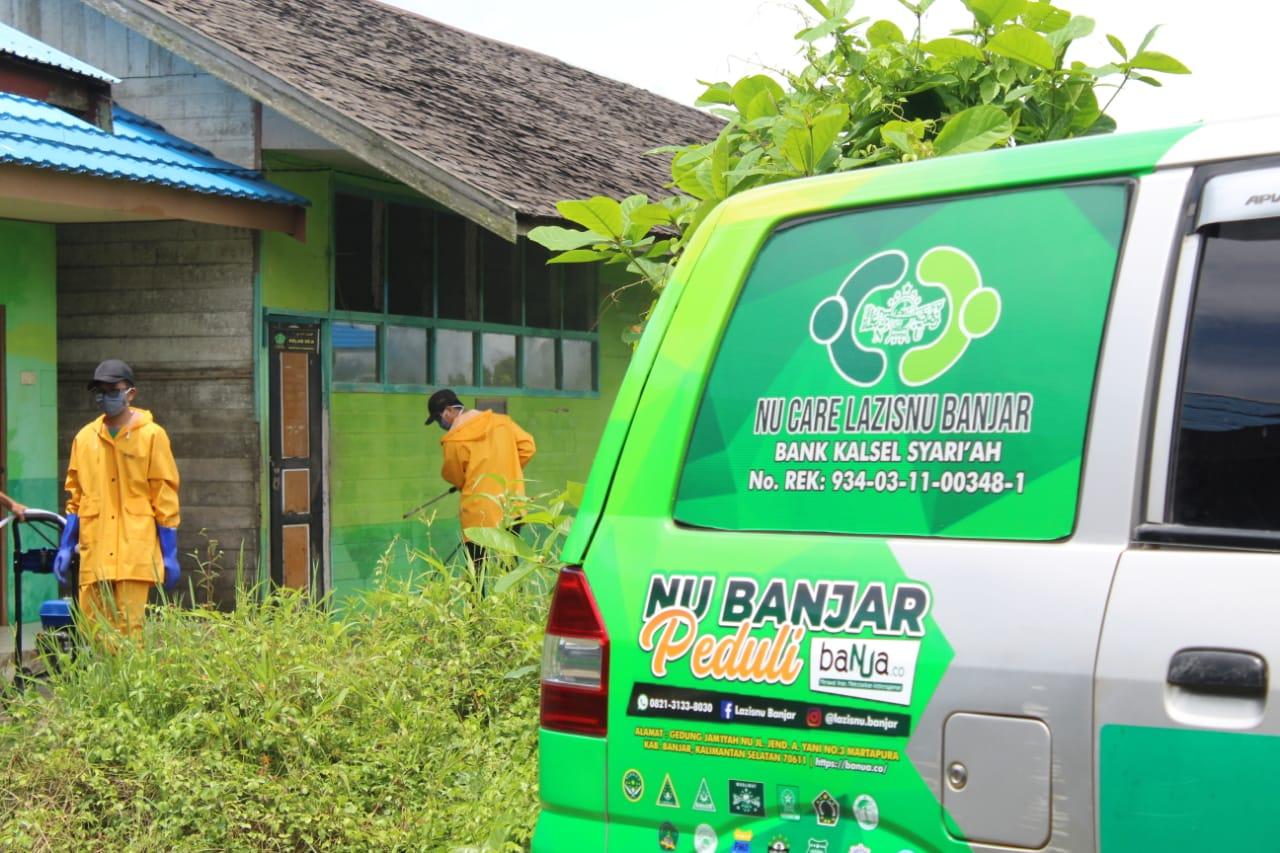 aksi satgas NU Banjar Peduli di desa Keliling Benteng Tengah Martapura Barat